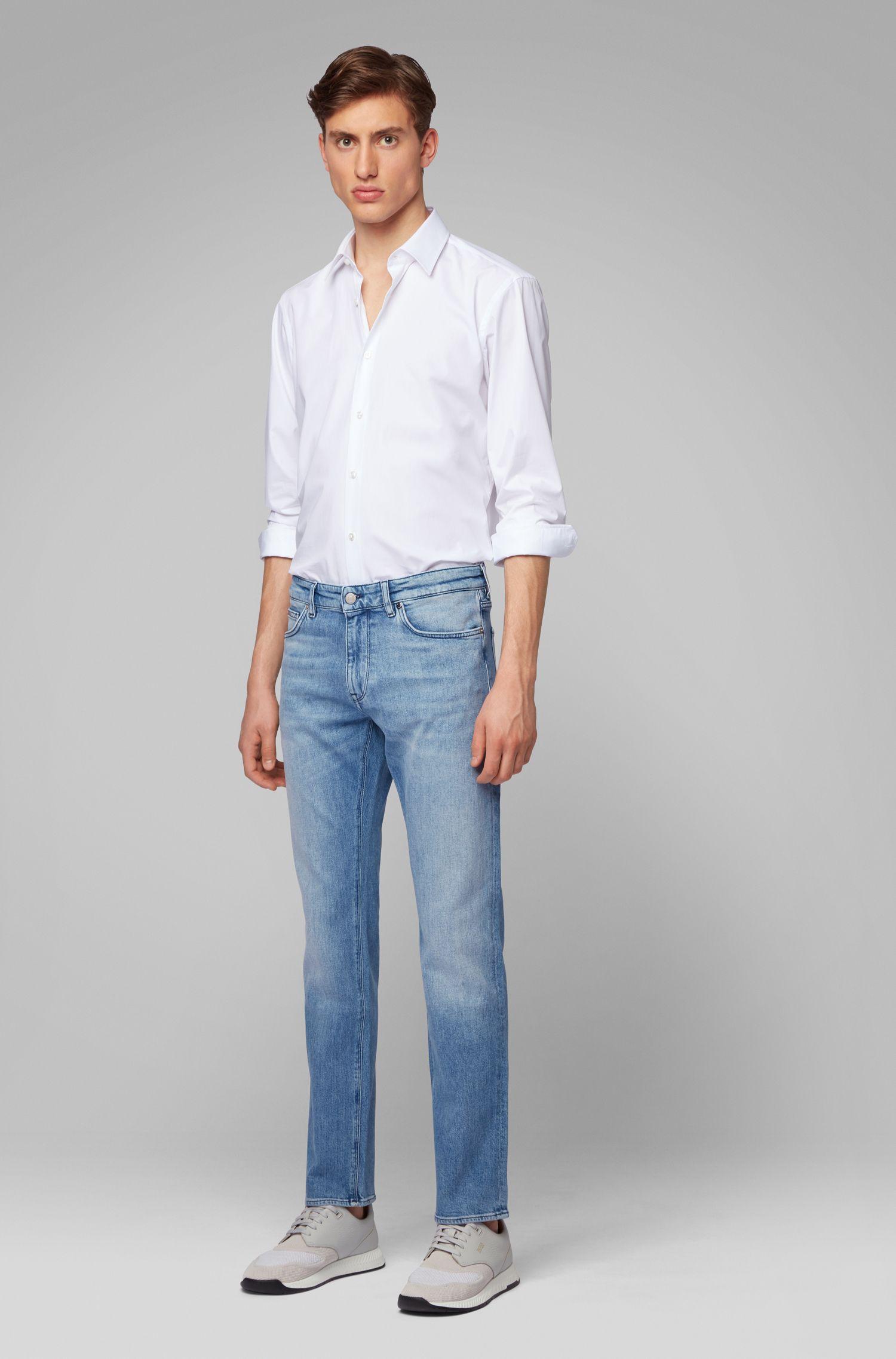 Regular-fit blue jeans in Italian ring-spun denim, Turquoise