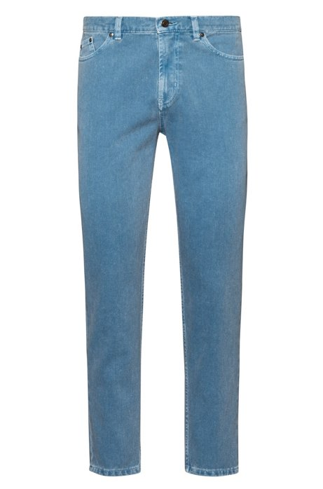 Jean Tapered Fit en denim surteint, Bleu