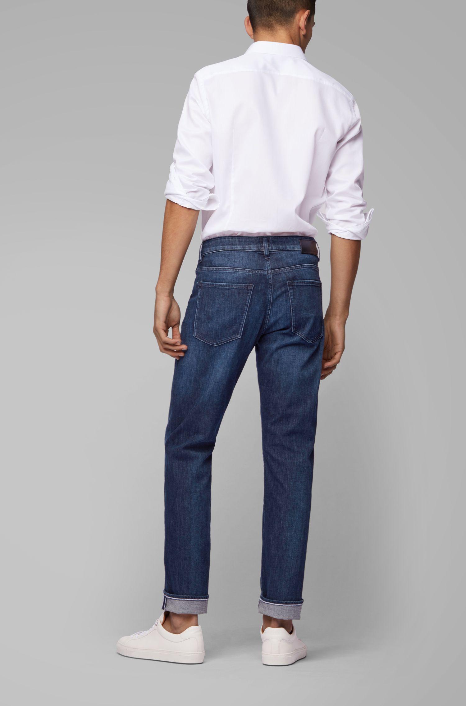 Slim-fit jeans van licht, ecovriendelijk Italiaans denim, Blauw