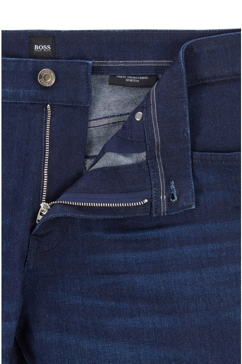 Hugo Boss - Regular-fit jeans in Italian dark-blue stretch denim - 7