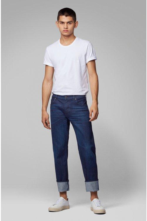 Hugo Boss - Regular-fit jeans in Italian dark-blue stretch denim - 3
