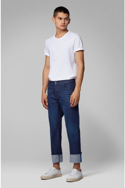 Hugo Boss - Regular-fit jeans in Italian dark-blue stretch denim - 6