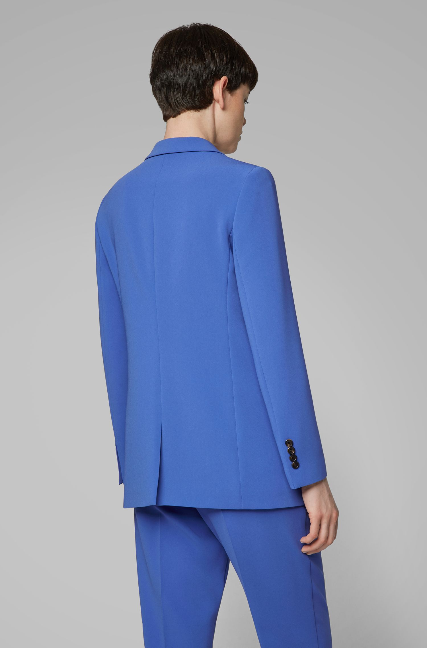 Relaxed-fit jacket in crease-resistant Japanese crepe, Blue