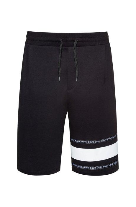 Short en coton interlock avec bande logo, Noir