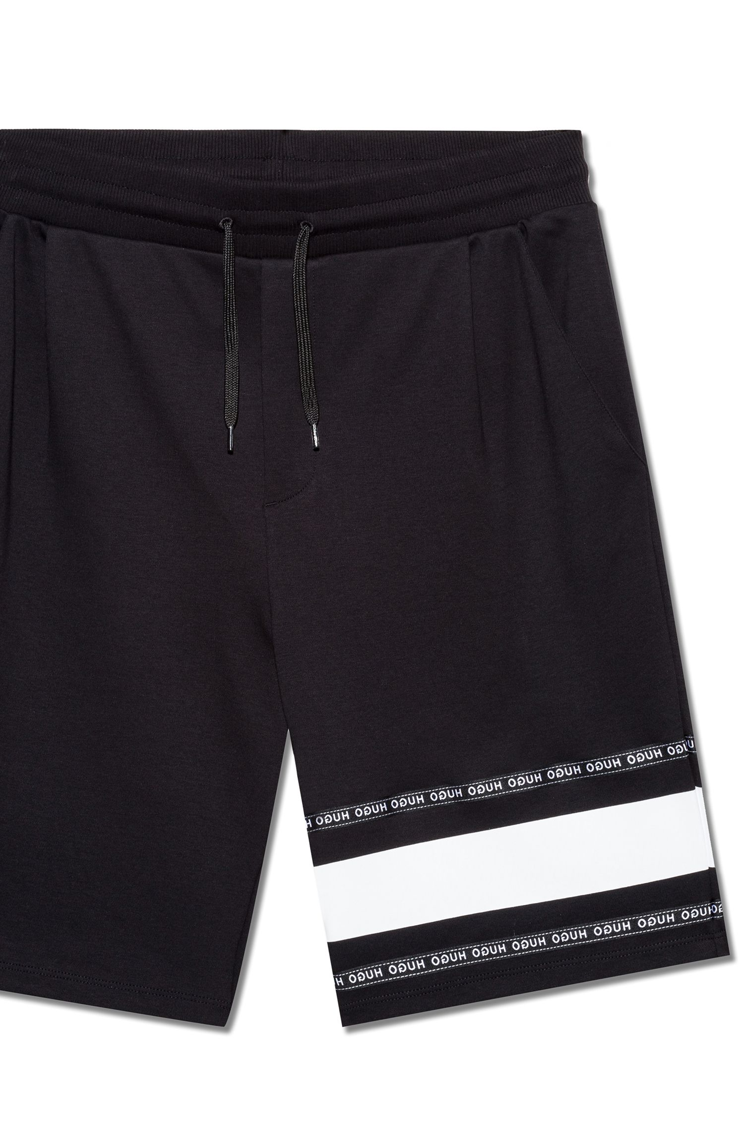 Interlock-cotton shorts with logo-tape detailing, Black