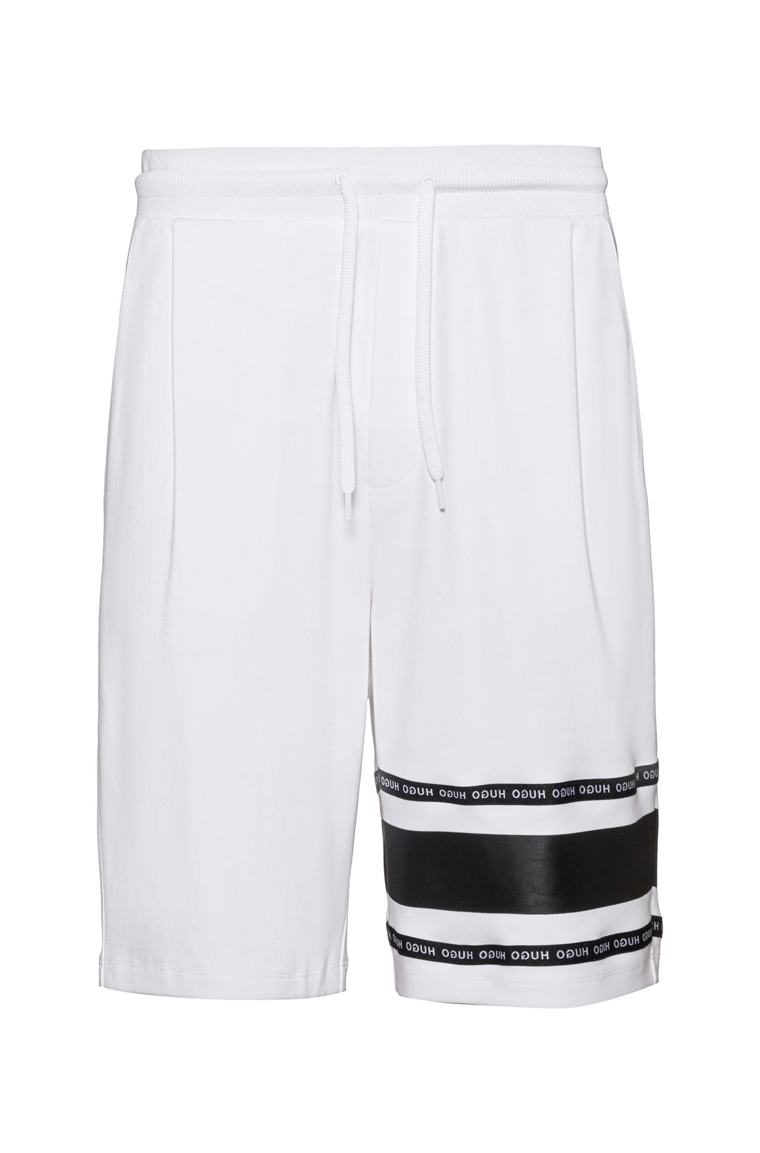 Shorts aus Interlock-Baumwolle mit Logo-Tape, Weiß