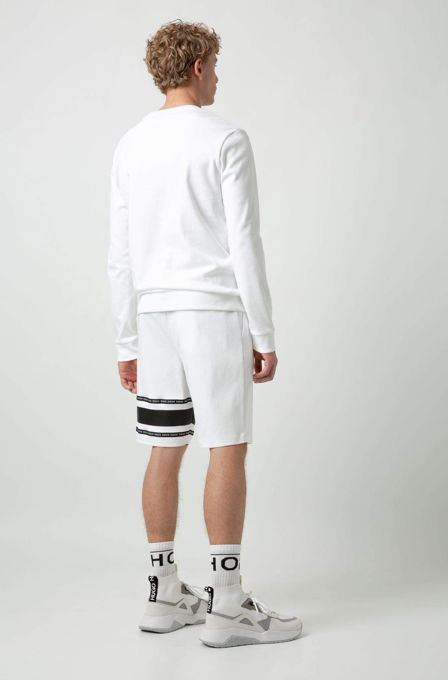 Pantaloncini in cotone intrecciato con fettuccia griffata, Bianco