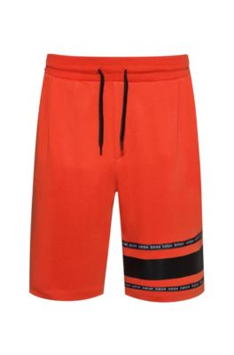 Short en coton interlock avec bande logo, Orange