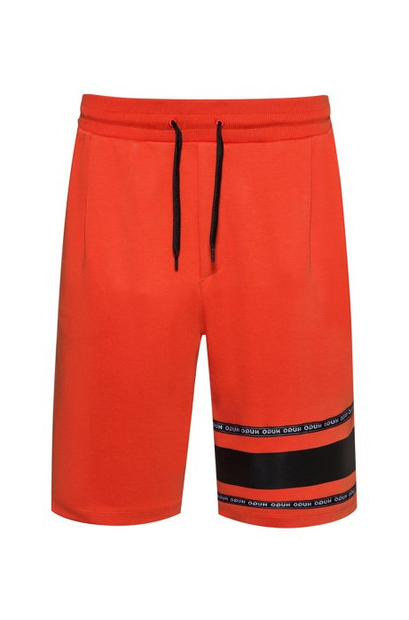 Short en coton interlock avec bande logo, Orange