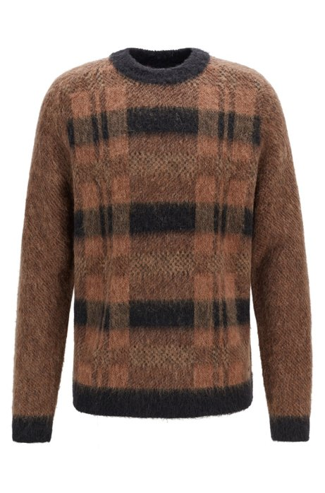 Relaxed-fit knitted sweater with checked-jacquard front, Brown