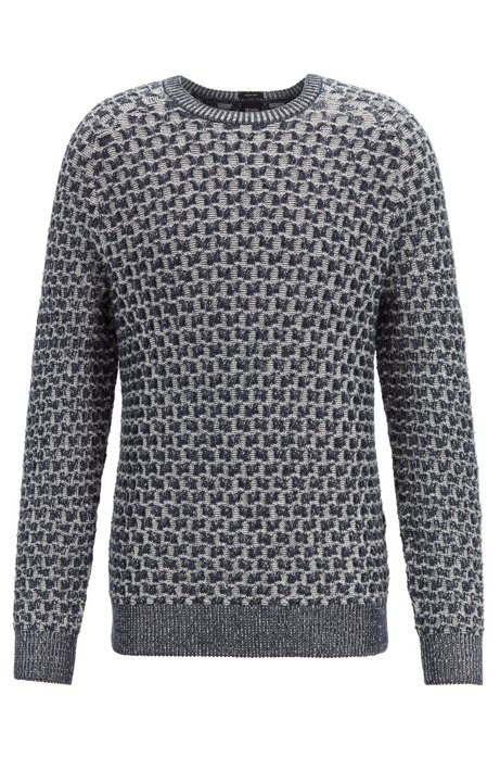 Cotton-blend sweater with two-tone plaited cabling, Grey