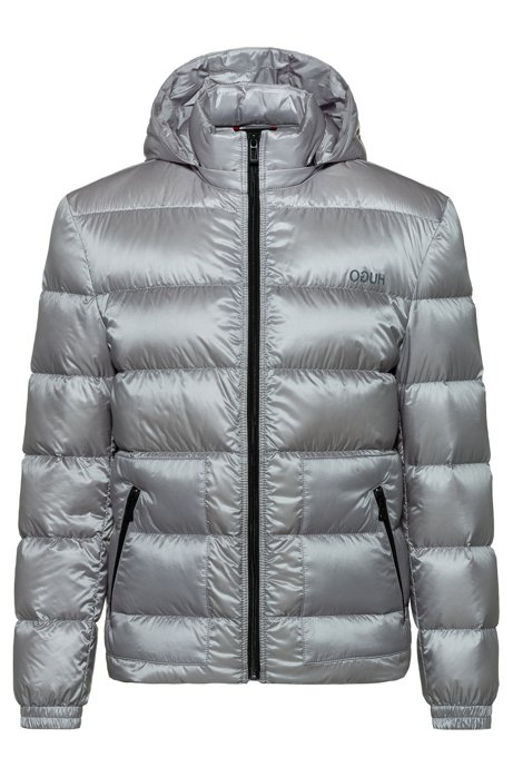 High-shine water-repellent down jacket with detachable hood, Silver