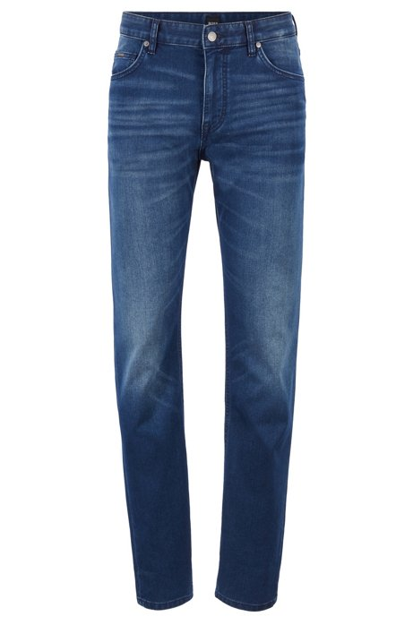 Jean Relaxed Fit en denim stretch italien bleu-noir, Bleu