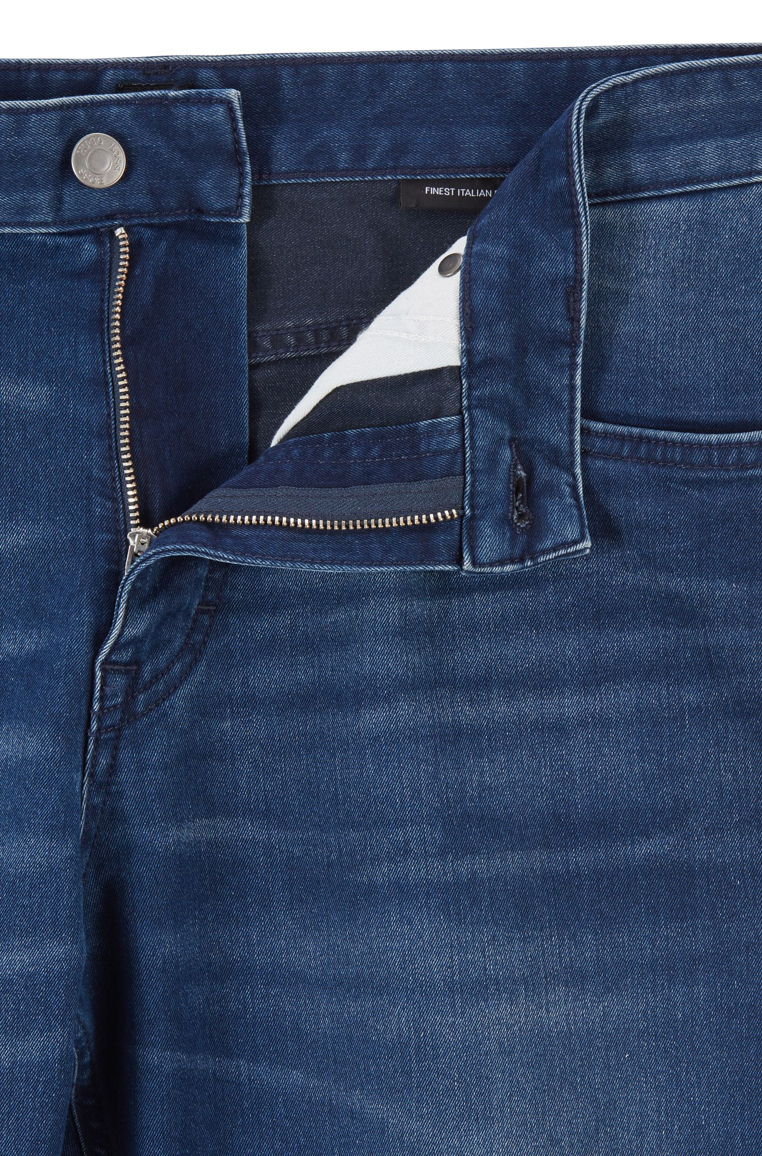 Relaxed-fit jeans in Italian blue-black stretch denim, Blue
