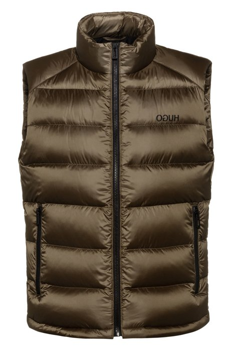 Water-repellent down gilet with reverse-logo print, Dark Green