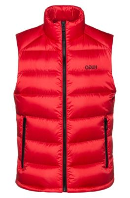 Water-repellent down gilet with reverse-logo print, Red