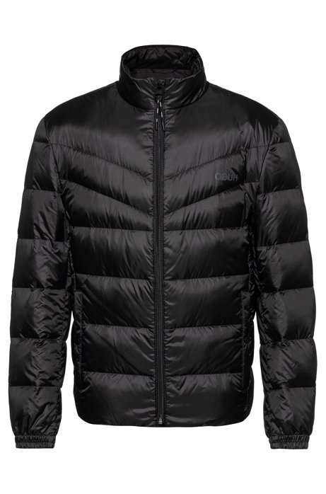 Regular-fit water-repellent down jacket with reverse logos, Black