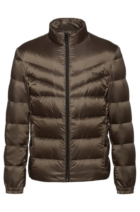 Regular-fit water-repellent down jacket with reverse logos, Dark Green