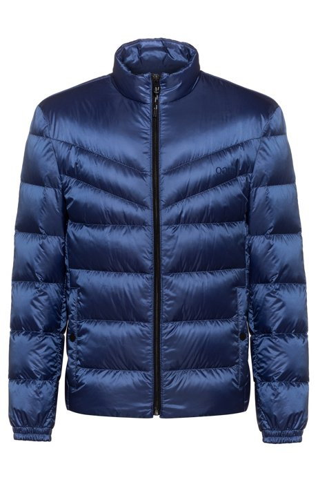 Regular-fit water-repellent down jacket with reverse logos, Blue