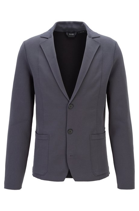 Regular-fit jacket in double-faced knitted fabric, Grey