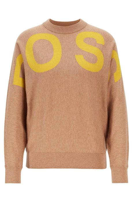 Logo-intarsia crew-neck sweater in a wool-cotton blend, Light Brown