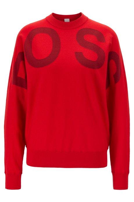 Pull à col rond avec logo intarsia, en mélange coton et laine, Rouge