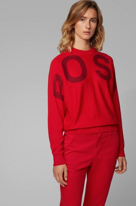 Logo-intarsia crew-neck sweater in a wool-cotton blend, Red
