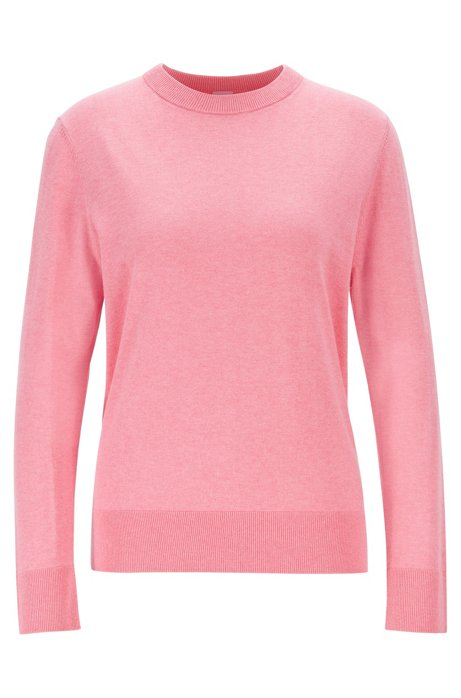 Crew-neck sweater in cotton with silk and cashmere, light pink