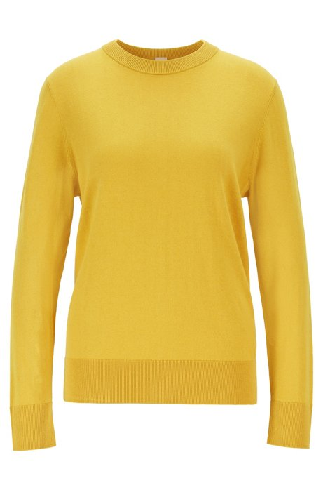 Crew-neck sweater in cotton with silk and cashmere, Dark Yellow
