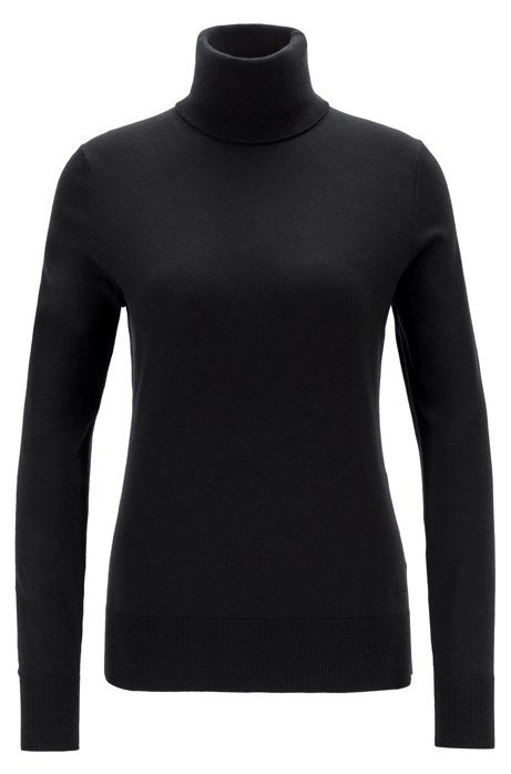 Slim-fit sweater in cotton, silk and cashmere, Black