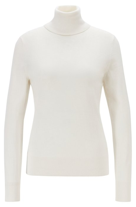 Slim-fit sweater in cotton, silk and cashmere, Natural