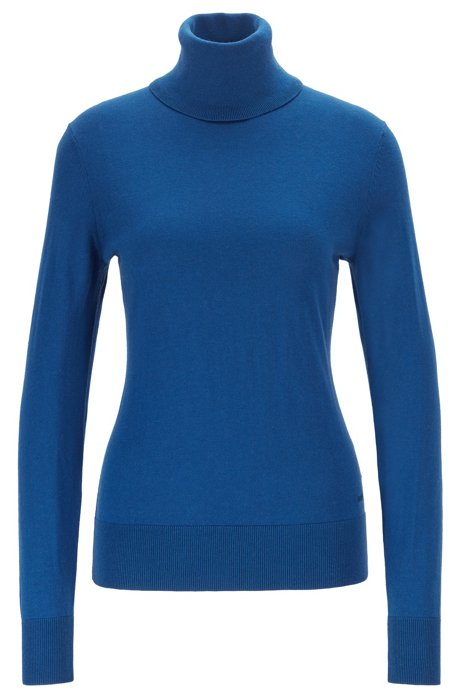 Slim-fit sweater in cotton, silk and cashmere, Blue