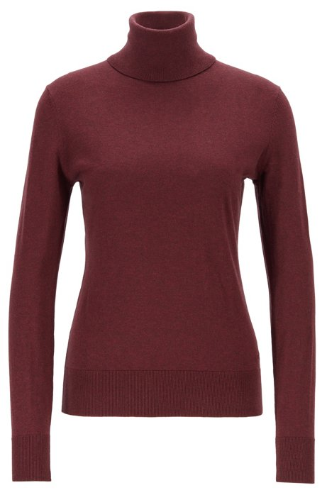 Slim-fit sweater in cotton, silk and cashmere, Dark Red