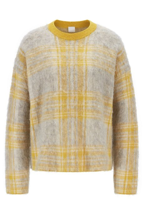 Relaxed-fit sweater in brushed check jacquard, Yellow