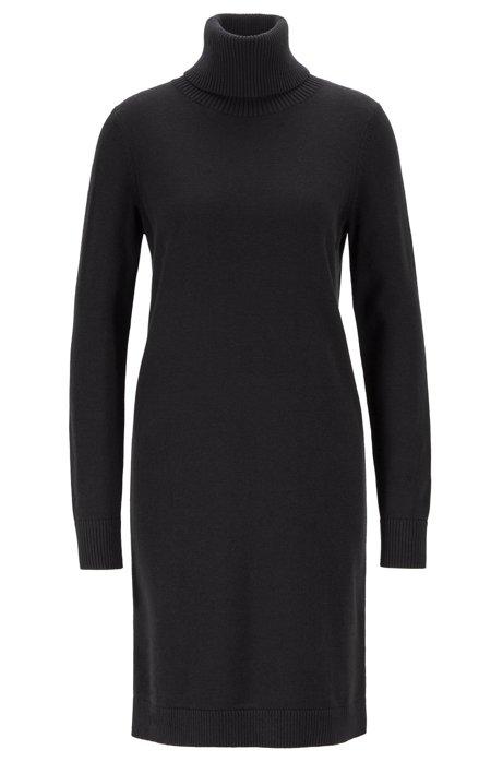 Rollneck sweater dress in a wool-cotton blend, Black