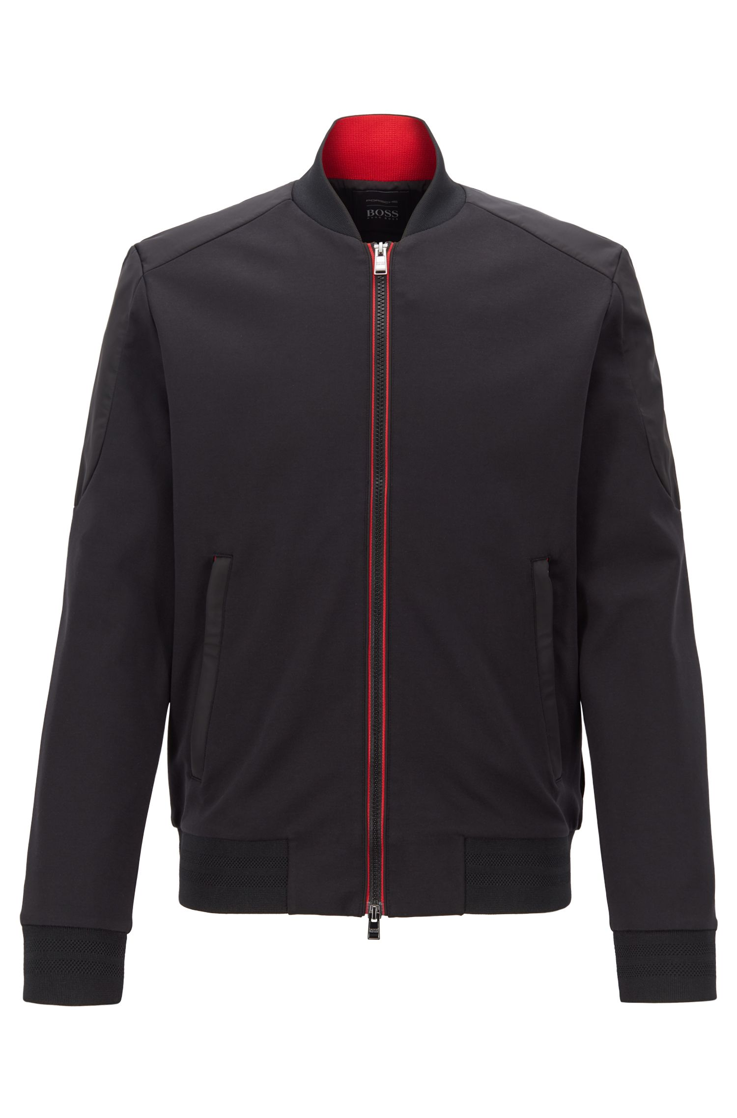 Slim-fit scuba jersey jacket with contrast details, Black