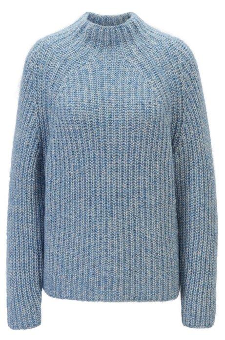 Strickpullover aus Baumwolle mit Alpaka und hohem Ausschnitt, Blau