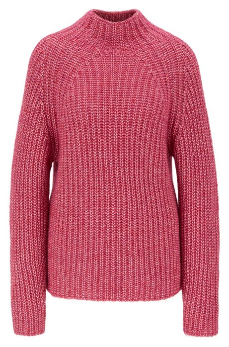 Relaxed-fit high-neck sweater in cotton with alpaca, Pink