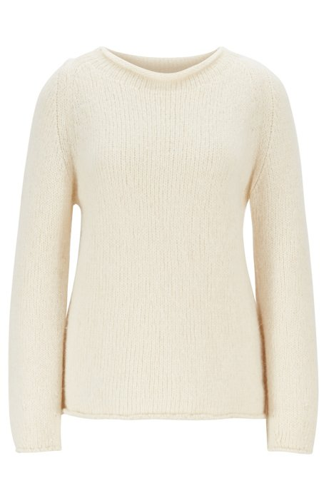 Alpaca-blend sweater with rolled neckline, Natural