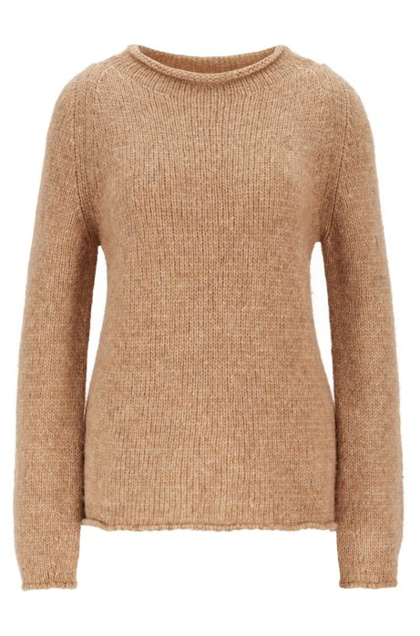 Alpaca-blend sweater with rolled neckline, Light Brown