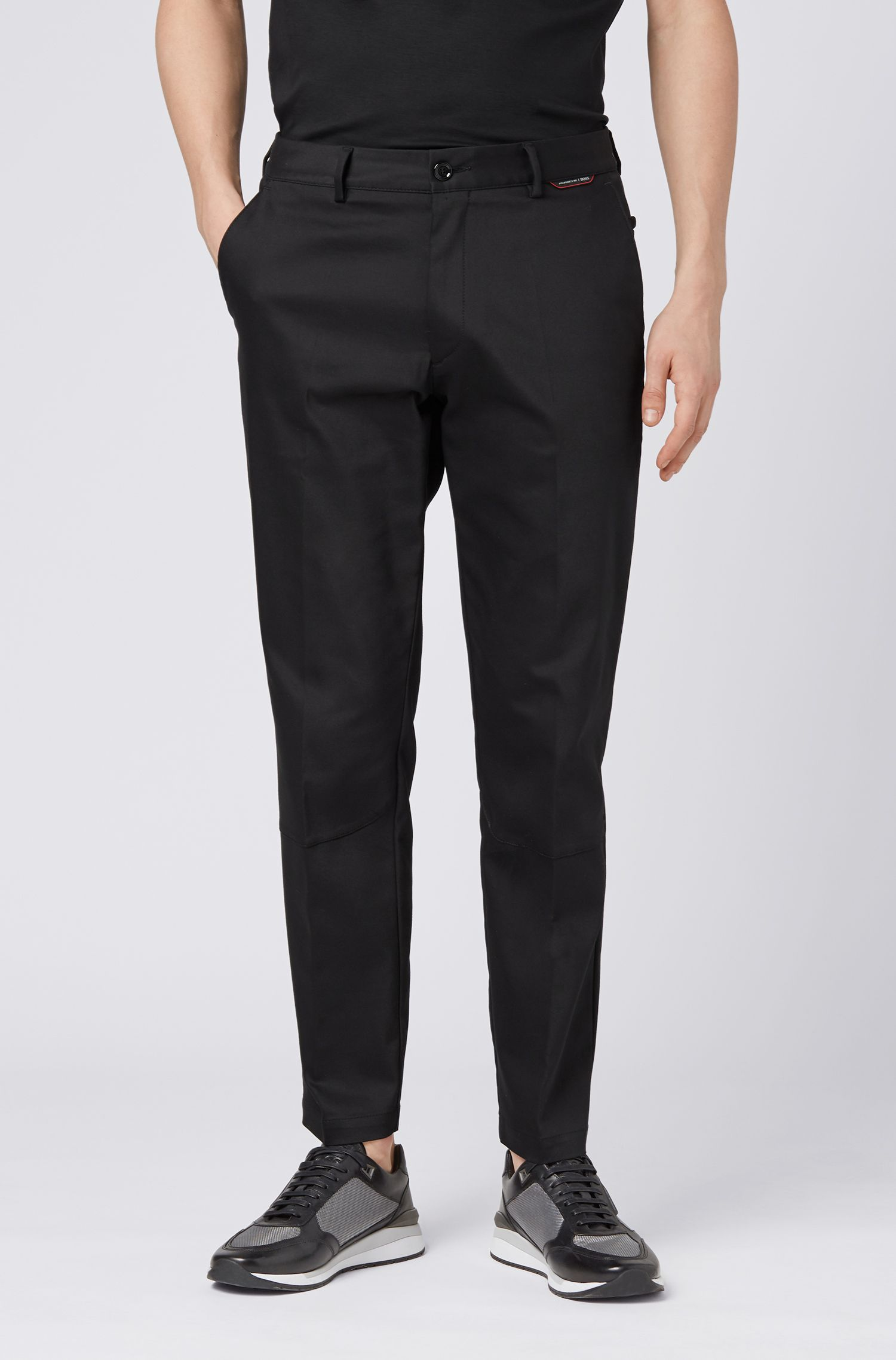Pantalon Regular Fit en tissu bi-stretch, Noir