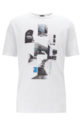 T-shirt a girocollo in jersey con stampa della collezione, Bianco