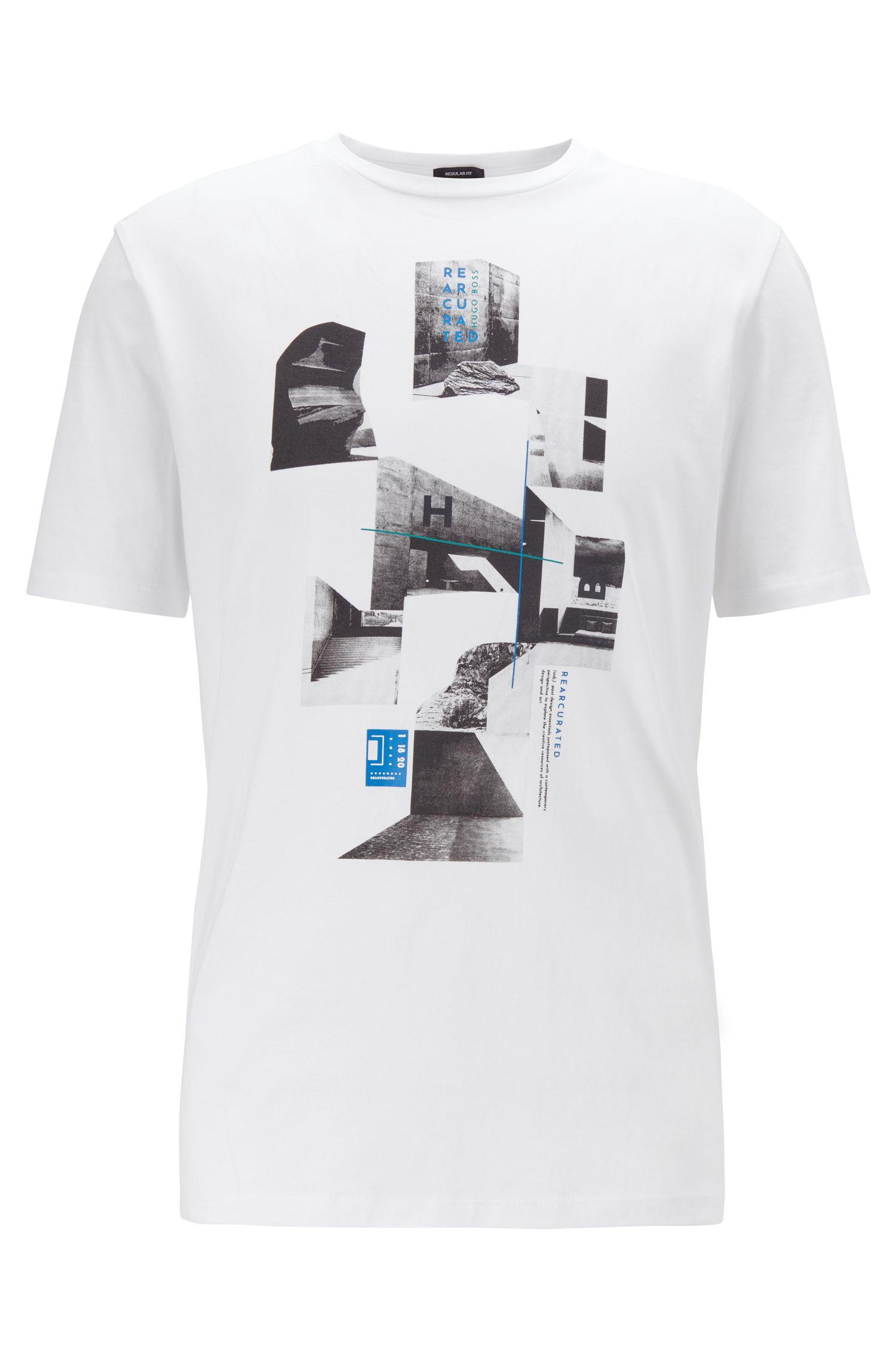 T-shirt van singlejersey met ronde hals en collectieprint, Wit