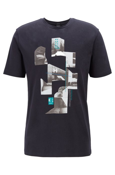 Crew-neck T-shirt in single jersey with collection print, Dark Blue