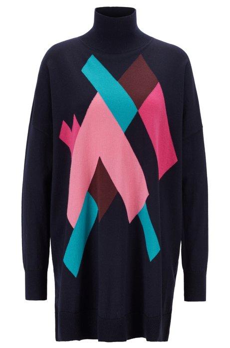 Langer Oversized Pullover mit Rautenmuster, Gemustert