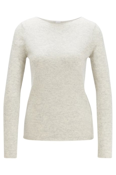 Regular-fit sweater in pure cashmere, Silver