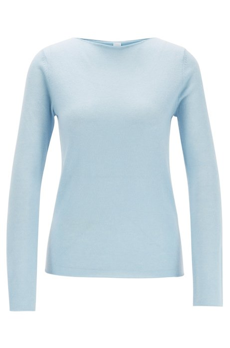 Regular-fit sweater in pure cashmere, Light Blue