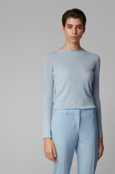 Maglione regular fit in puro cashmere, Celeste