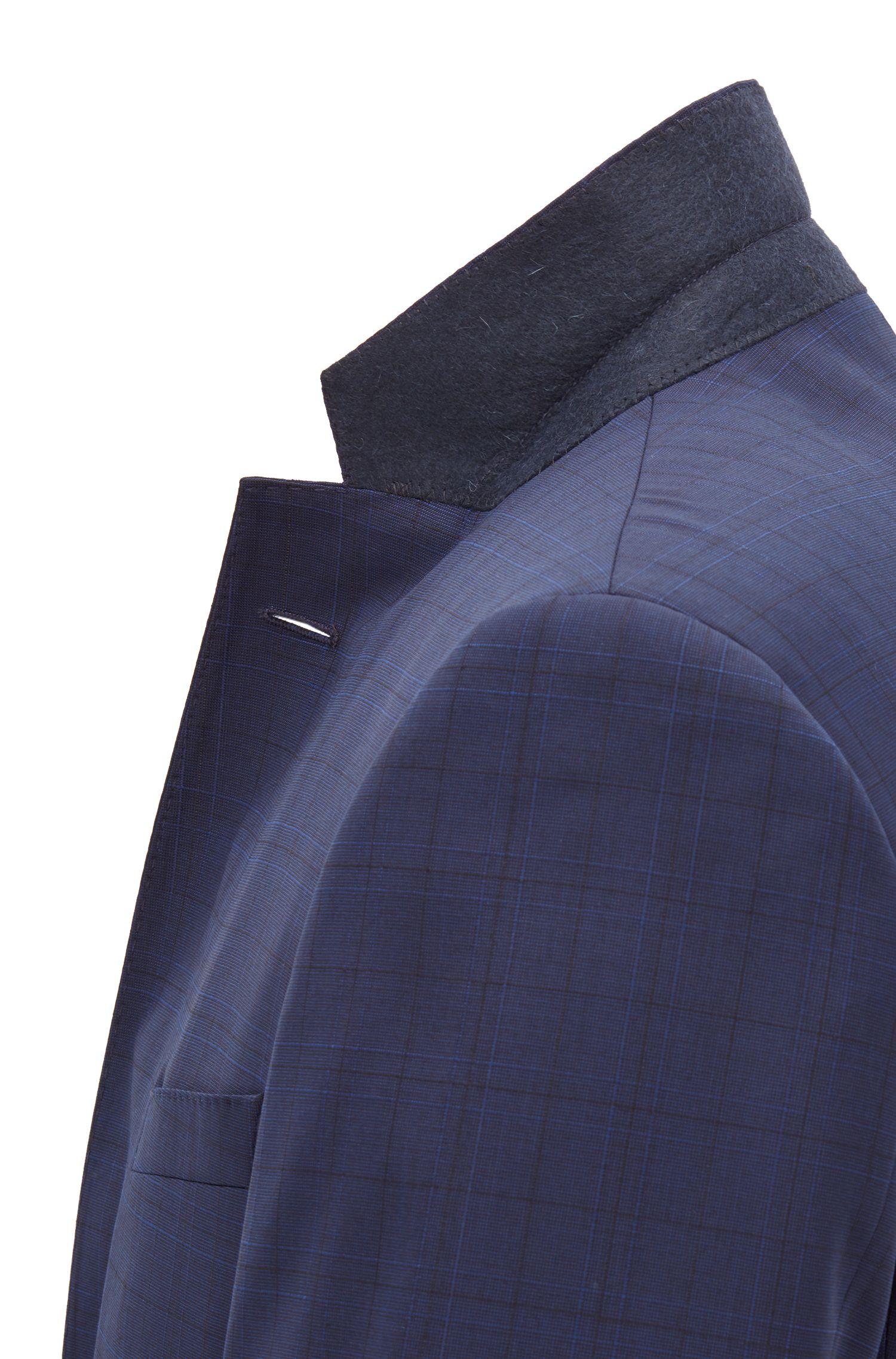 Giacca slim fit in lana vergine a quadri, Blue Scuro