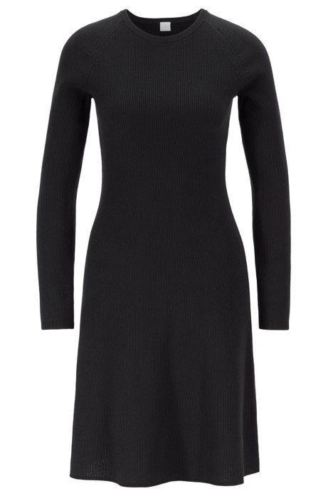 Knitted dress in a cotton blend with silk, Black